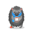 cute hedgehog wearing blue scarf drinking hot tea vector image
