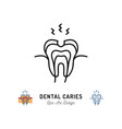 dental caries icon tooth hole damaged tooth vector image vector image