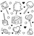 doodle candy various hand draw collection vector image vector image