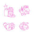 doodle wedding elements piles set isolated vector image