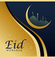 Elegant eid festival greeting card design in vector image