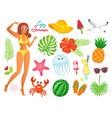 enjoy summer woman and summertime elements set vector image