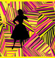 fashion girl silhouette over abstract geometric vector image vector image