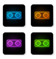 glowing neon stereo speaker icon isolated on vector image vector image