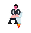 guy on toilet rocket with turbine is flying jet wc vector image vector image