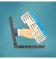 Hand coming out of the laptop with ticket vector image