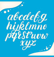 hand written lowercase alphabet made of milk vector image
