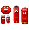 Happy natural tomato juice cartoon characters vector image vector image