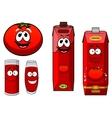 Happy natural tomato juice cartoon characters vector image