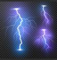 lightning thunder storm realistic lightnings set vector image vector image
