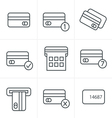 Line Icons Style black credit cart icons set vector image vector image