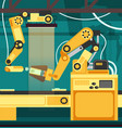 manufacturing auto assembly line with robotic arms vector image vector image
