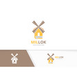 mill and book logo combination farm and vector image