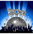 New year party with crowd dancing in front of silv vector | Price: 1 Credit (USD $1)