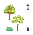 park scene set icons vector image