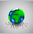 people crowd under big earth planet vector image vector image