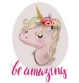 pink cartoon fairytale unicorn vector image vector image