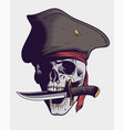 pirate skull with knife vector image vector image