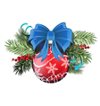 Red Christmas ball with blue bow vector image vector image