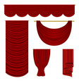 red drapery set vector image vector image