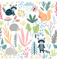 seamless forest pattern with wild animals plants vector image vector image