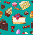 seamless pattern of hand drawn cakes candies vector image vector image