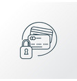 secured credit card icon line symbol premium vector image