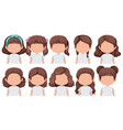 set of faceless brunette girl character vector image vector image