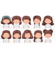 set of faceless brunette girl character vector image vector image