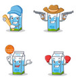 set of milk box character with baseball cowboy vector image vector image