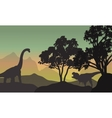 Silhouette of brachiosaurus and T-Rex in hills vector image vector image