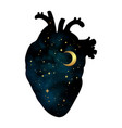 silhouette of human heart with universe inside vector image vector image
