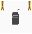 Soda Cans with tube icon vector image vector image