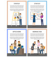 strategy office work set of posters with workers vector image vector image