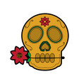 sugar skull with flower mexico culture icon imag vector image