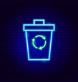 trash recycling neon sign vector image vector image