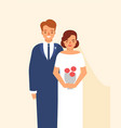 wedding portrait of cute happy pair of young vector image