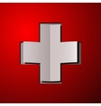 White cross with red back - sticker or card vector image vector image