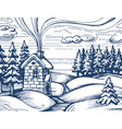 winter forest sketch vector image vector image
