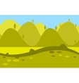 Cartoon Landscape of Green Meadows Fields Hills vector image