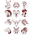 Chinese zodiac animals set vector image