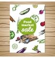 Drawn Food Market Sale Flyer vector image