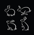 group of hand drawn rabbit on black background vector image