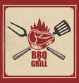barbecue and grill grilled meat with fork vector image vector image