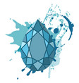 beautiful blue diamonds shapes on blue watercolor vector image vector image