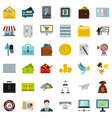business contract icons set flat style vector image vector image