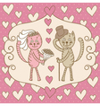 card wedding day love cats vector image vector image