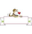 Cartoon dog holding a banner sign vector image vector image
