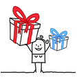 cartoon smiling woman with two big gifts vector image vector image