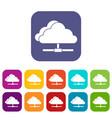 cloud computing connection icons set vector image vector image